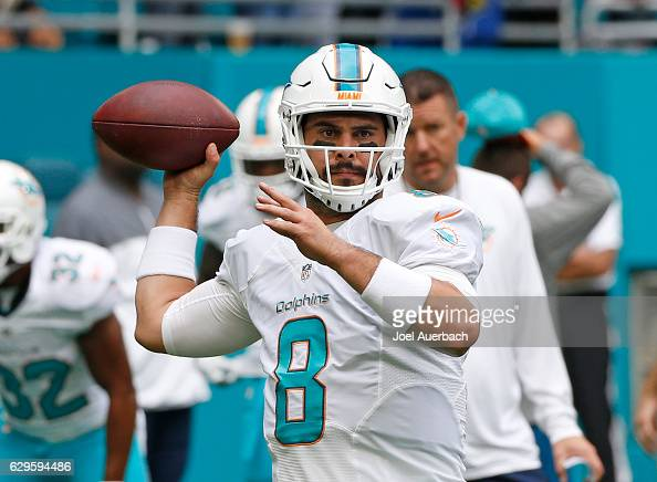 Matt Moore of the Miami Dolphins throws the ball prior to the game against the Arizona Cardinals on December 11 2016 at Hard Rock Stadium in Miami...