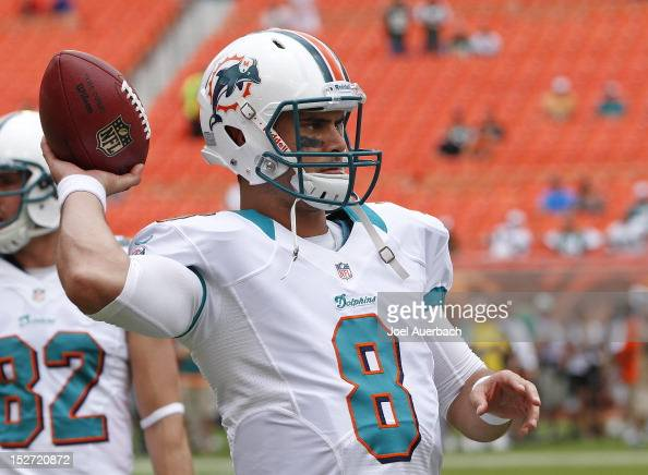 Matt Moore of the Miami Dolphins warms up prior to the game against the New York Jets on September 23 2012 at Sun Life Stadium in Miami Gardens...