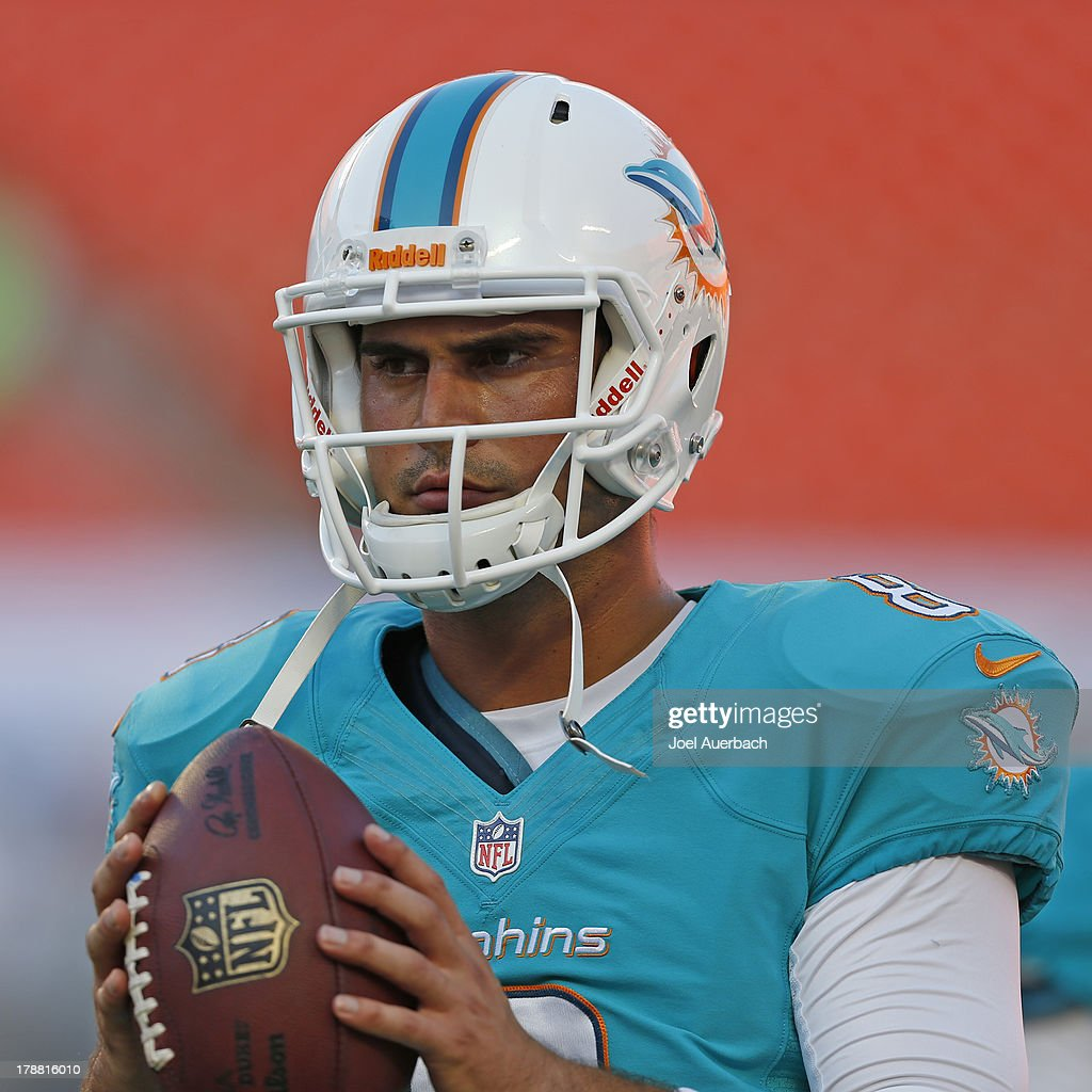 Matt Moore #8 of the Miami Dolphins warms up prior to the preseason game against the New Orleans Saints on August 29, 2013 at Sun Life Stadium in Miami Gardens, Florida. The Dolphins defeated the Saints 24-21.