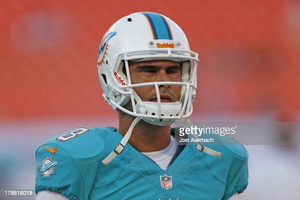 Matt Moore of the Miami Dolphins warms up prior to the preseason game against the New Orleans Saints on August 29 2013 at Sun Life Stadium in Miami...