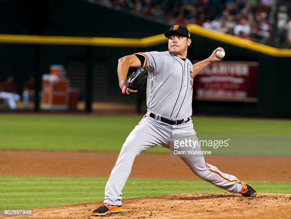 Matt Moore of the San Francisco Giants delivers a pitch during the first inning of the MLB game against the Arizona Diamondbacks at Chase Field on...