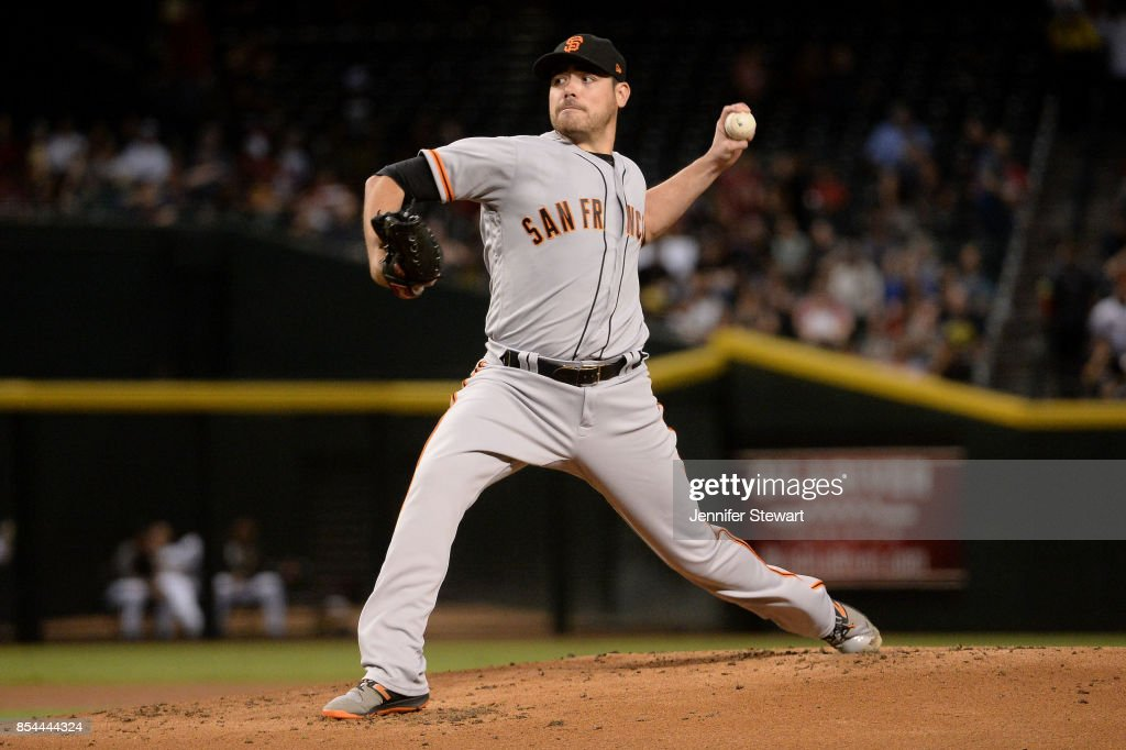 Matt Moore #45 of the San Francisco Giants delivers a pitch in the first inning of the MLB game against the Arizona Diamondbacks at Chase Field on September 26, 2017 in Phoenix, Arizona.