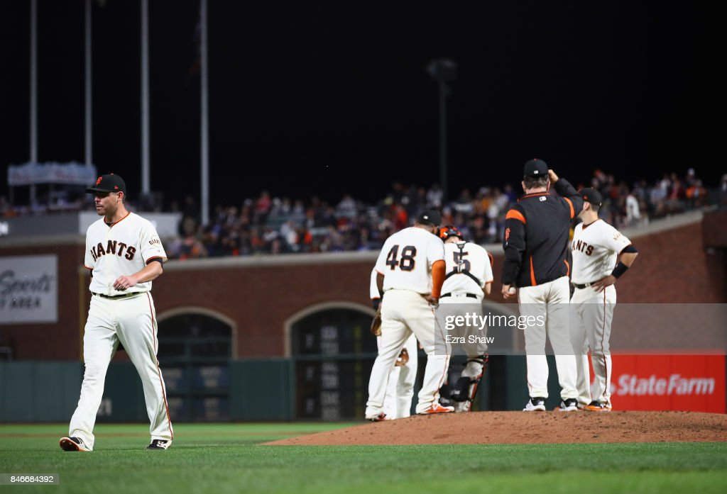 Matt Moore #45 of the San Francisco Giants is taken out of the game in the fifth inning against the San Francisco Giants at AT&T Park on September 13, 2017 in San Francisco, California.
