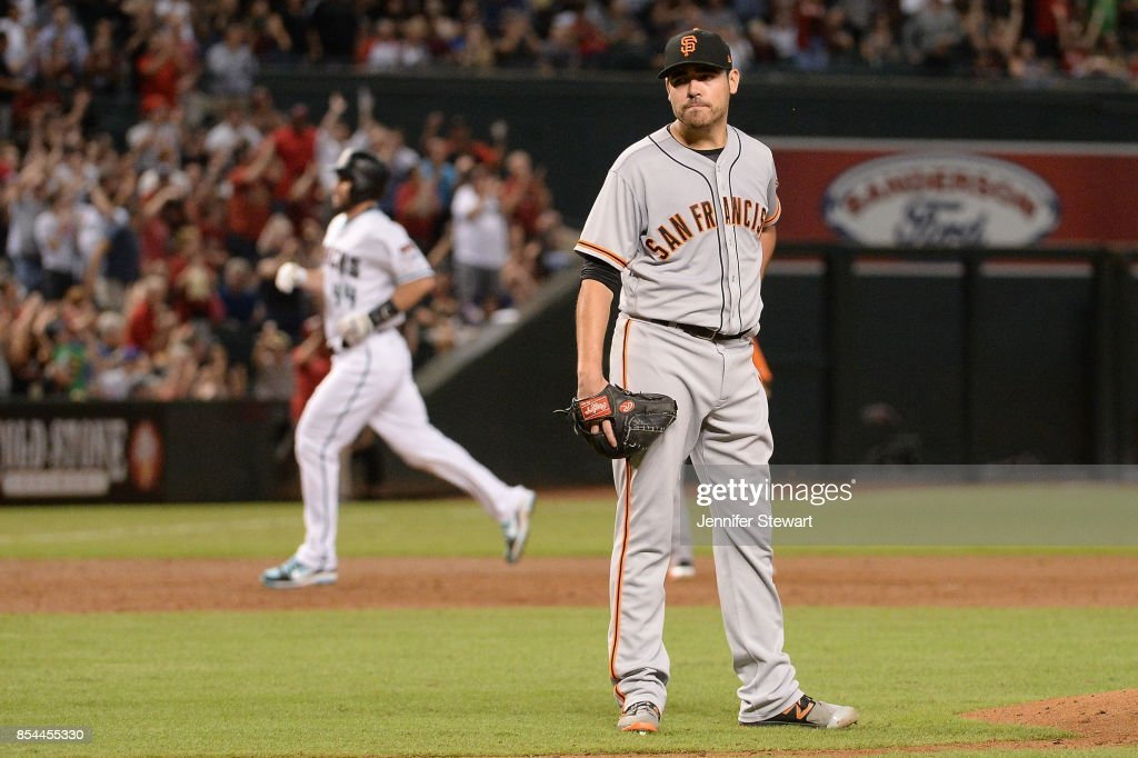 Matt Moore #45 of the San Francisco Giants reacts on the field after giving up a grand slam to J.D. Martinez (not pictured) in the second inning at Chase Field on September 26, 2017 in Phoenix, Arizona.