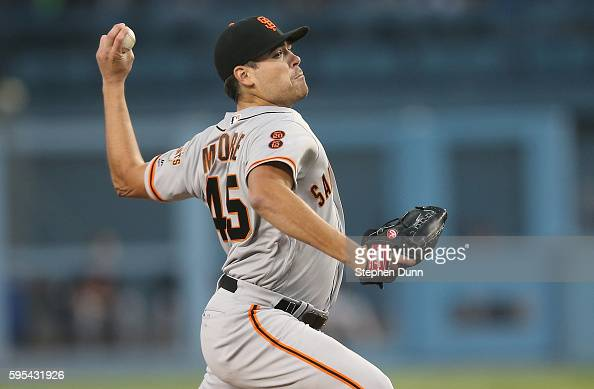 Matt Moore of the San Francisco Giants throws a pitch against the Los Angeles Dodgers at Dodger Stadium on August 25 2016 in Los Angeles California