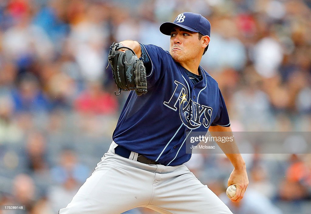 Matt Moore #55 of the Tampa Bay Rays in action against the New York Yankees at Yankee Stadium on July 28, 2013 in the Bronx borough of New York City. The Yankees defeated the Rays 6-5.