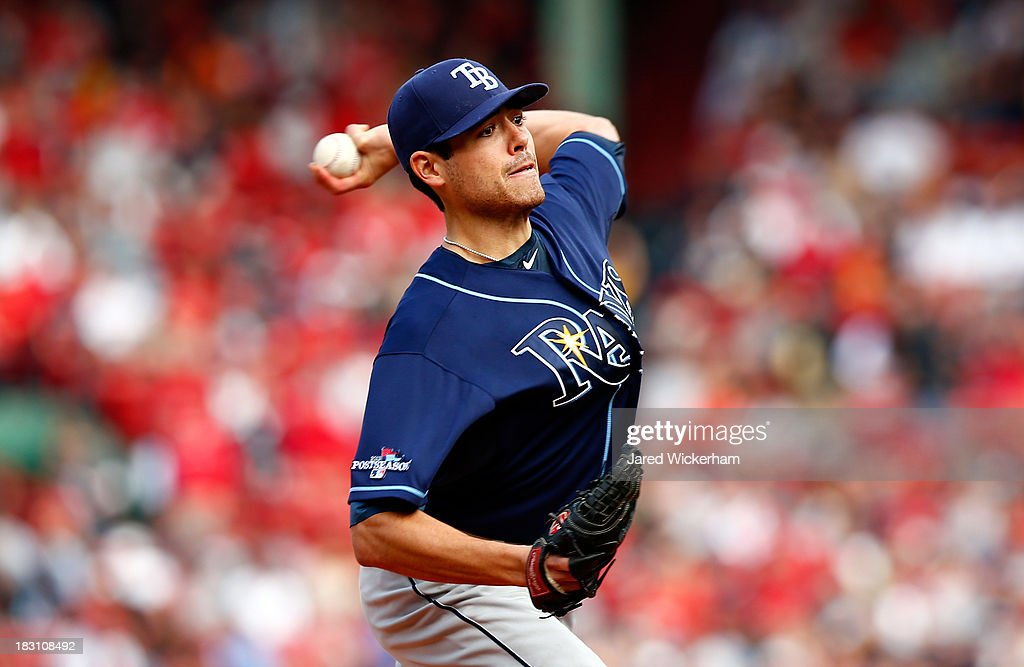 Matt Moore #55 of the Tampa Bay Rays pitches against the Boston Red Sox in the first inning of Game One of the American League Division Series at Fenway Park on October 4, 2013 in Boston, Massachusetts.