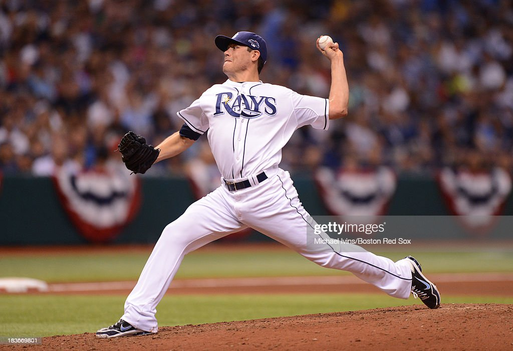 Matt Moore #55 of the Tampa Bay Rays pitches against the Boston Red Sox in the fourth inning of Game Four of the American League Division Series on October 8, 2013 at Tropicana Field in St. Petersburg, Florida.
