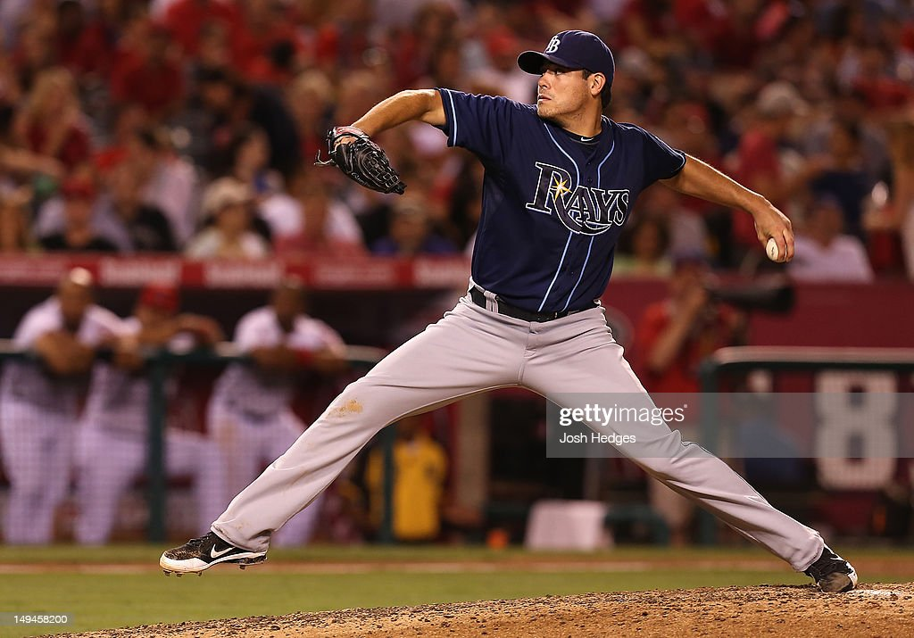 Matt Moore #55 of the Tampa Bay Rays pitches against the Los Angeles Angels of Anaheim at Angel Stadium of Anaheim on July 28, 2012 in Anaheim, California.