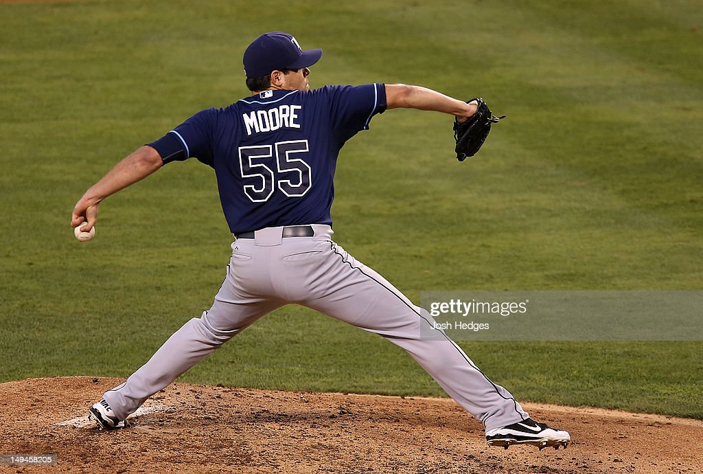 <a gi-track='captionPersonalityLinkClicked' href=/galleries/search?phrase=Matt+Moore+-+Baseball+Player&family=editorial&specificpeople=15003307 ng-click='$event.stopPropagation()'>Matt Moore</a> #55 of the Tampa Bay Rays pitches against the Los Angeles Angels of Anaheim at Angel Stadium of Anaheim on July 28, 2012 in Anaheim, California.