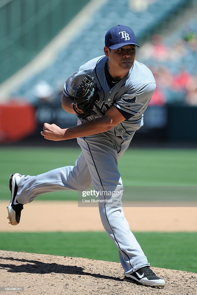 <a gi-track='captionPersonalityLinkClicked' href=/galleries/search?phrase=Matt+Moore+-+Baseball+Player&family=editorial&specificpeople=15003307 ng-click='$event.stopPropagation()'>Matt Moore</a> #55 of the Tampa Bay Rays pitches against the Los Angeles Angels of Anaheim at Angel Stadium of Anaheim on August 19, 2012 in Anaheim, California.