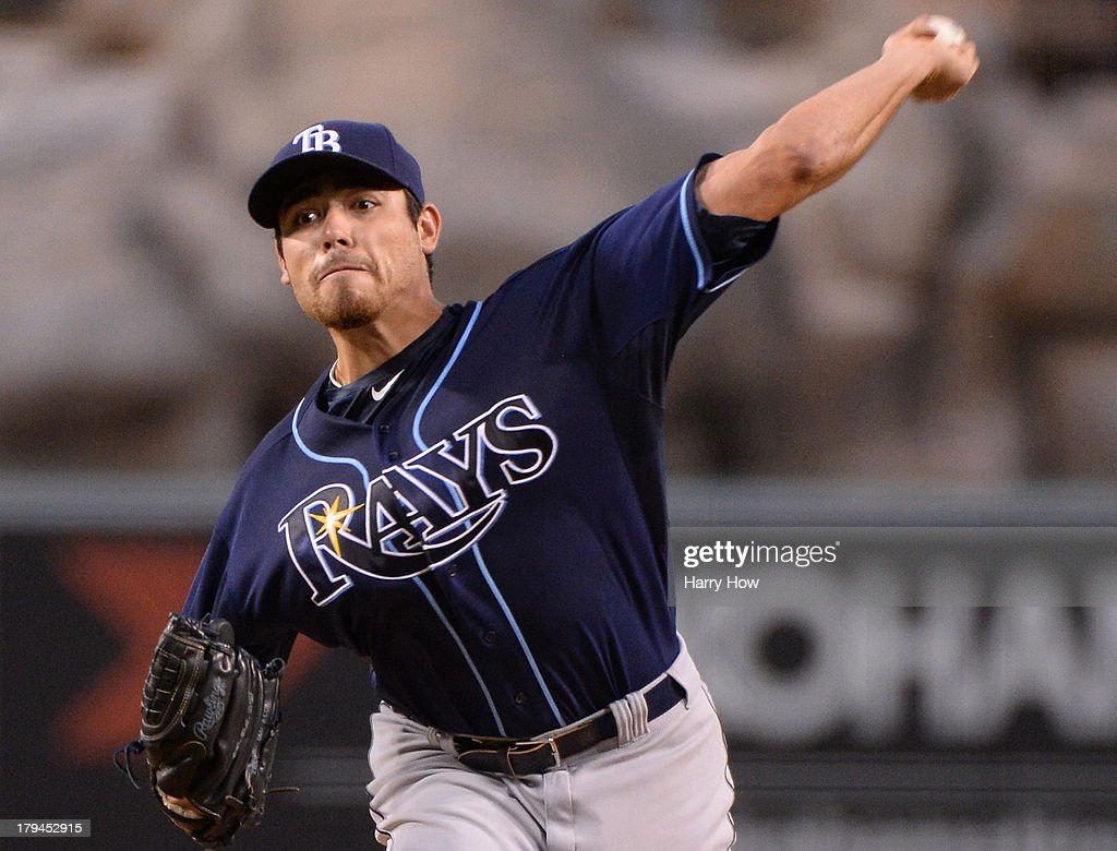 Matt Moore #55 of the Tampa Bay Rays pitches against the Los Angeles Angels during the first inning at Angel Stadium of Anaheim on September 3, 2013 in Anaheim, California.