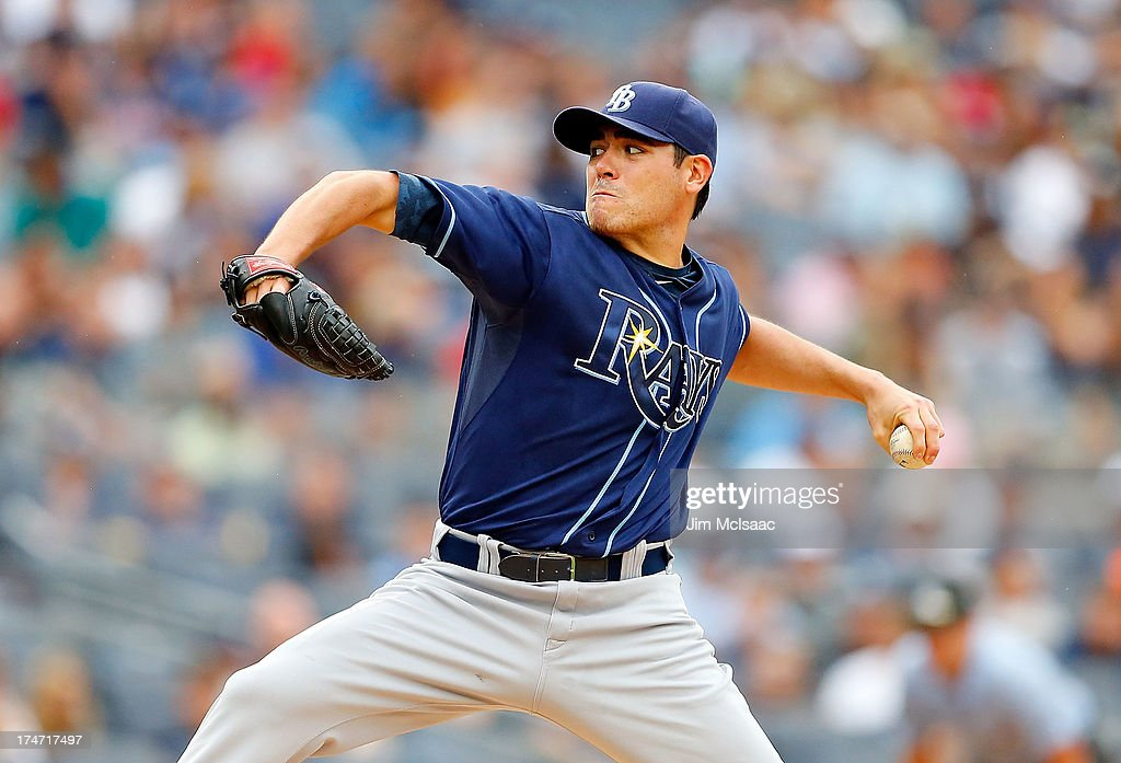 Matt Moore #55 of the Tampa Bay Rays pitches against the New York Yankees at Yankee Stadium on July 28, 2013 in the Bronx borough of New York City.