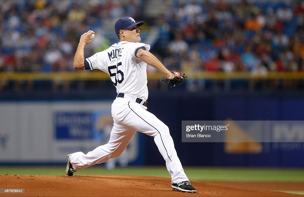 <a gi-track='captionPersonalityLinkClicked' href=/galleries/search?phrase=Matt+Moore+-+Baseball+Player&family=editorial&specificpeople=15003307 ng-click='$event.stopPropagation()'>Matt Moore</a> #55 of the Tampa Bay Rays pitches during the first inning of a game against the Boston Red Sox on September 12, 2015 at Tropicana Field in St. Petersburg, Florida.