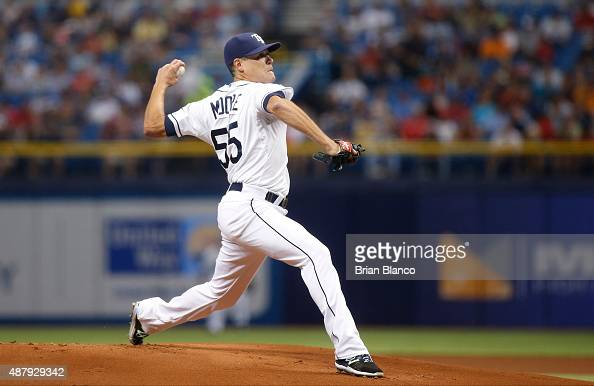 Matt Moore of the Tampa Bay Rays pitches during the first inning of a game against the Boston Red Sox on September 12 2015 at Tropicana Field in St...