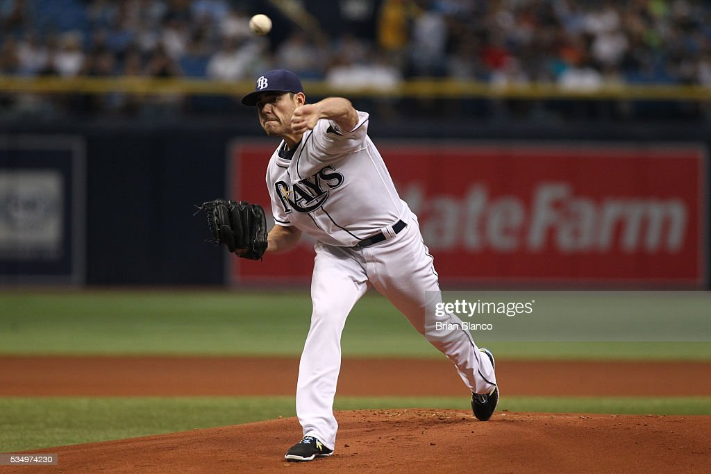 Matt Moore #55 of the Tampa Bay Rays pitches during the first inning of a game against the New York Yankees on May 28, 2016 at Tropicana Field in St. Petersburg, Florida.