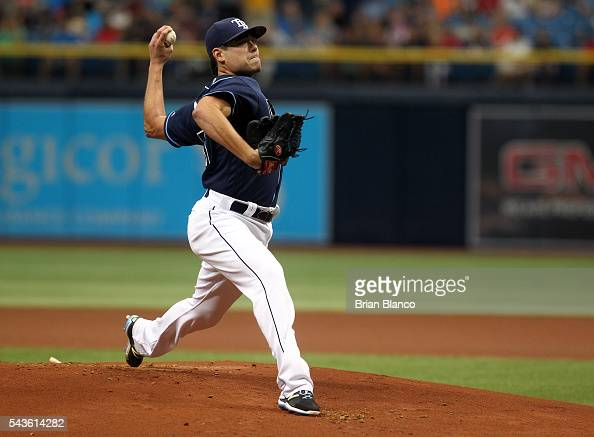 Matt Moore of the Tampa Bay Rays pitches during the first inning of a game against the Boston Red Sox on June 29 2016 at Tropicana Field in St...