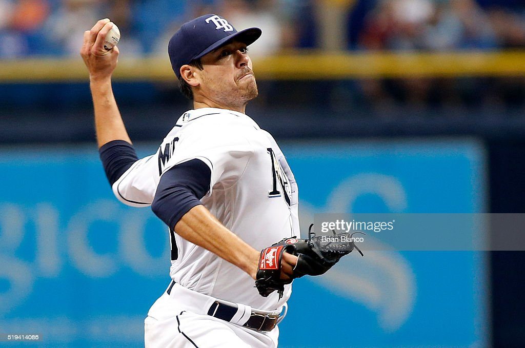 <a gi-track='captionPersonalityLinkClicked' href=/galleries/search?phrase=Matt+Moore+-+Baseball+Player&family=editorial&specificpeople=15003307 ng-click='$event.stopPropagation()'>Matt Moore</a> #55 of the Tampa Bay Rays pitches during the second inning of a game against the Toronto Blue Jays on April 6, 2016 at Tropicana Field in St. Petersburg, Florida.