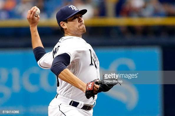 Matt Moore of the Tampa Bay Rays pitches during the second inning of a game against the Toronto Blue Jays on April 6 2016 at Tropicana Field in St...