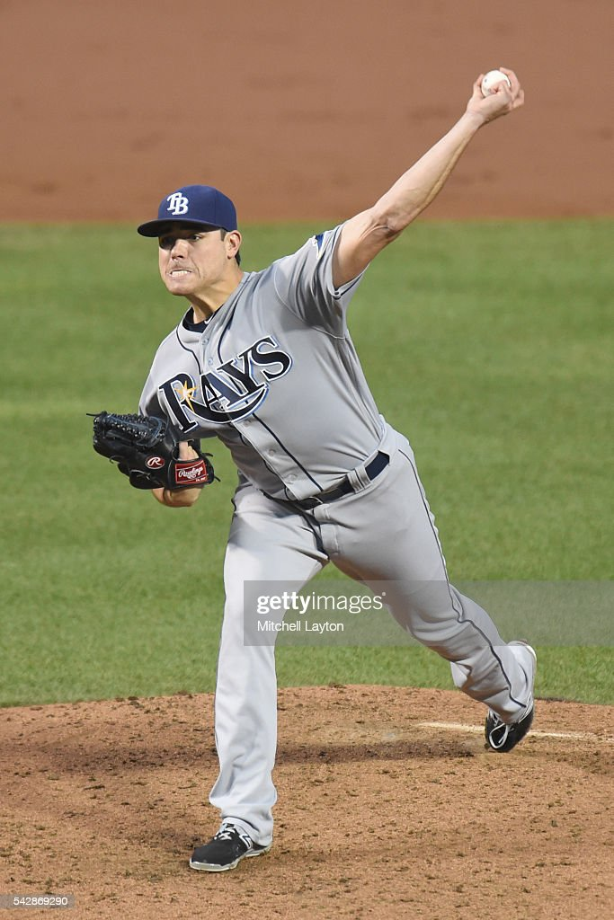<a gi-track='captionPersonalityLinkClicked' href=/galleries/search?phrase=Matt+Moore+-+Baseball+Player&family=editorial&specificpeople=15003307 ng-click='$event.stopPropagation()'>Matt Moore</a> #55 of the Tampa Bay Rays pitches in the forth inning during a baseball game against the Baltimore Orioles at Oriole Park at Camden Yards on June 24, 2016 in Baltimore, Maryland.
