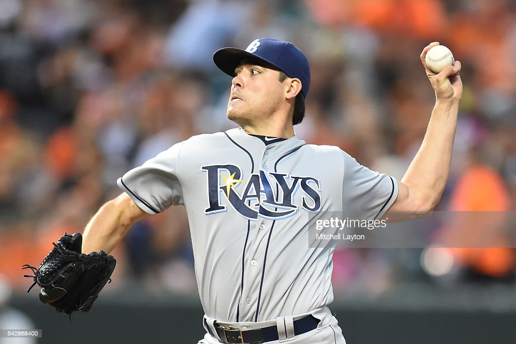 <a gi-track='captionPersonalityLinkClicked' href=/galleries/search?phrase=Matt+Moore+-+Baseball+Player&family=editorial&specificpeople=15003307 ng-click='$event.stopPropagation()'>Matt Moore</a> #55 of the Tampa Bay Rays pitches in the third inning during a baseball game against the Baltimore Orioles at Oriole Park at Camden Yards on June 24, 2016 in Baltimore, Maryland.
