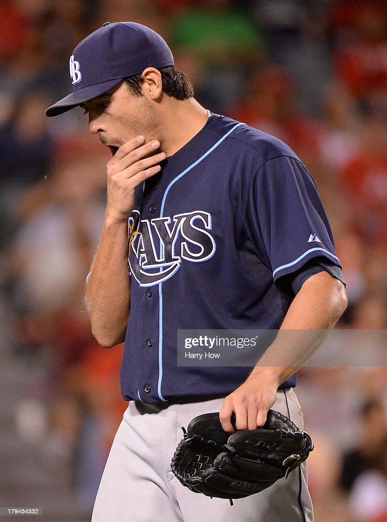 <a gi-track='captionPersonalityLinkClicked' href=/galleries/search?phrase=Matt+Moore+-+Baseball+Player&family=editorial&specificpeople=15003307 ng-click='$event.stopPropagation()'>Matt Moore</a> #55 of the Tampa Bay Rays reacts to the third out of the fifth inning as his team leads 5-1 over the Los Angeles Angels during the fifth inning at Angel Stadium of Anaheim on September 3, 2013 in Anaheim, California.