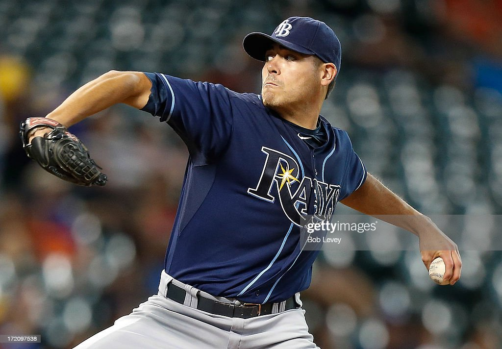 Matt Moore #55 of the Tampa Bay Rays throws in the first inning against the Houston Astros at Minute Maid Park on July 1, 2013 in Houston, Texas.