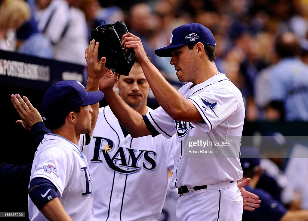 Matt Moore #55 of the Tampa Bay Rays walks back to the dugout in the third inning against the Boston Red Sox during Game Four of the American League Division Series at Tropicana Field on October 8, 2013 in St Petersburg, Florida.