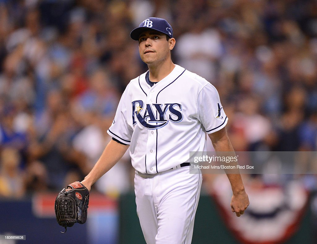 Matt Moore #55 of the Tampa Bay Rays walks off the mound after retiring the Boston Red Sox in the third inning of Game Four of the American League Division Series on October 8, 2013 at Tropicana Field in St. Petersburg, Florida.