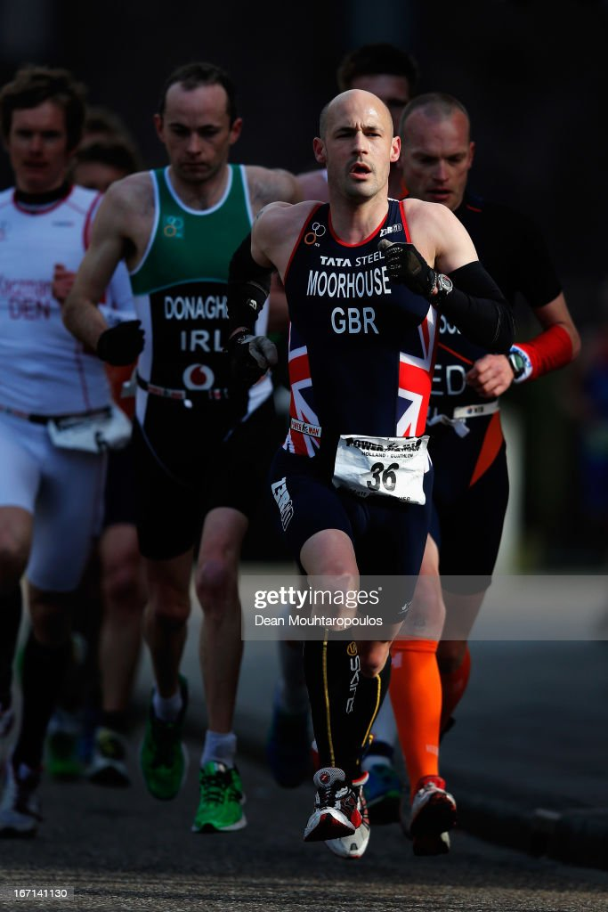 Matt Moorhouse of Great Britain competes in the Elite Mens Long Distance race during the 2013 Horst ETU Powerman Long Distance and Sprint Duathlon European Championships on April 21, 2013 in Horst, Netherlands.