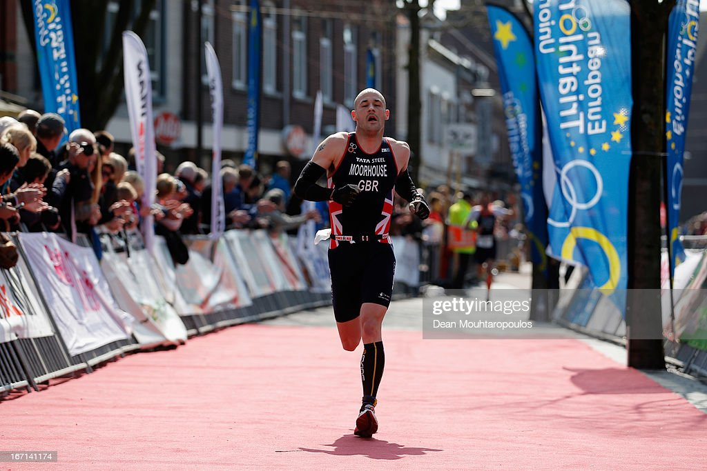 Matt Moorhouse of Great Britain runs towards the finish line during the Elite Mens Long Distance race during the 2013 Horst ETU Powerman Long Distance and Sprint Duathlon European Championships on April 21, 2013 in Horst, Netherlands.