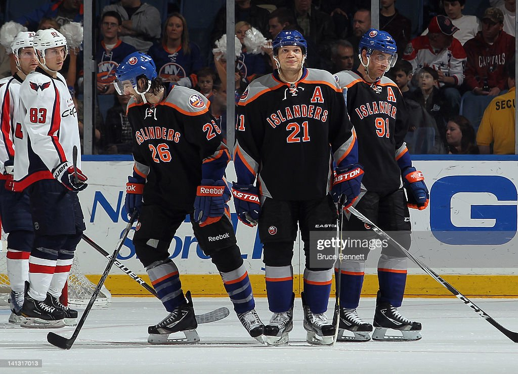 <a gi-track='captionPersonalityLinkClicked' href=/galleries/search?phrase=Matt+Moulson&family=editorial&specificpeople=3365493 ng-click='$event.stopPropagation()'>Matt Moulson</a> #26, <a gi-track='captionPersonalityLinkClicked' href=/galleries/search?phrase=Kyle+Okposo&family=editorial&specificpeople=540469 ng-click='$event.stopPropagation()'>Kyle Okposo</a> #21, and <a gi-track='captionPersonalityLinkClicked' href=/galleries/search?phrase=John+Tavares&family=editorial&specificpeople=601791 ng-click='$event.stopPropagation()'>John Tavares</a> #91 of the New York Islanders skate against the Washington Capitals at the Nassau Veterans Memorial Coliseum on March 13, 2012 in Uniondale, New York.