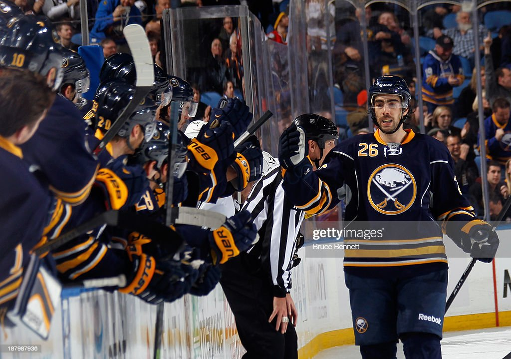 <a gi-track='captionPersonalityLinkClicked' href=/galleries/search?phrase=Matt+Moulson&family=editorial&specificpeople=3365493 ng-click='$event.stopPropagation()'>Matt Moulson</a> #26 of the Buffalo Sabres celebrates a goal against the Los Angeles Kings at the First Niagara Center on November 12, 2013 in Buffalo, New York.