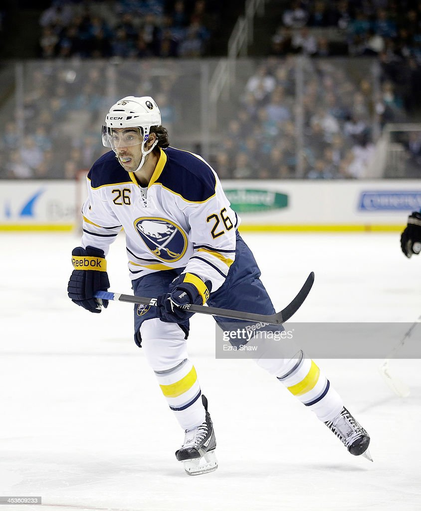 <a gi-track='captionPersonalityLinkClicked' href=/galleries/search?phrase=Matt+Moulson&family=editorial&specificpeople=3365493 ng-click='$event.stopPropagation()'>Matt Moulson</a> #26 of the Buffalo Sabres in action against the San Jose Sharks at SAP Center on November 5, 2013 in San Jose, California.