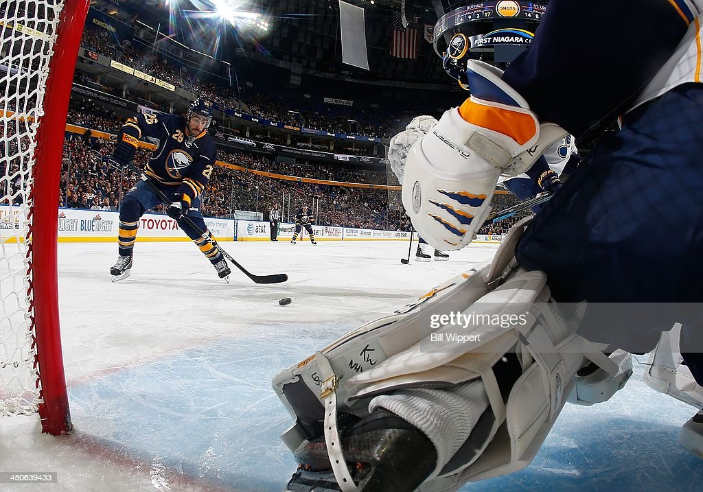 <a gi-track='captionPersonalityLinkClicked' href=/galleries/search?phrase=Matt+Moulson&family=editorial&specificpeople=3365493 ng-click='$event.stopPropagation()'>Matt Moulson</a> #26 of the Buffalo Sabres reaches for a rebound against goaltender <a gi-track='captionPersonalityLinkClicked' href=/galleries/search?phrase=Jaroslav+Halak&family=editorial&specificpeople=2285591 ng-click='$event.stopPropagation()'>Jaroslav Halak</a> #41 of the St. Louis Blues on November 19, 2013 at the First Niagara Center in Buffalo, New York. St. Louis won, 4-1.