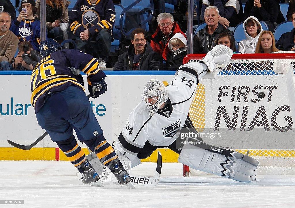 Matt Moulson #26 of the Buffalo Sabres scores a shootout goal against Ben Scrivens #54 of the Los Angeles Kings on November 12, 2013 at the First Niagara Center in Buffalo, New York. Buffalo won, 3-2.