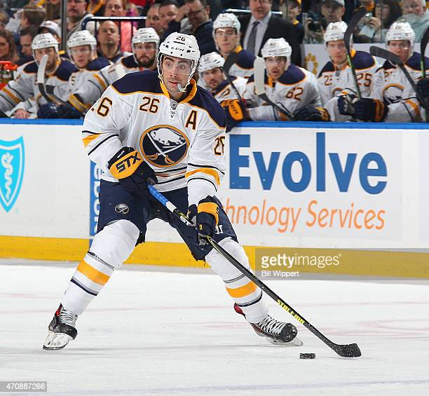 Matt Moulson of the Buffalo Sabres skates against the Pittsburgh Penguins on April 11 2015 at the First Niagara Center in Buffalo New York