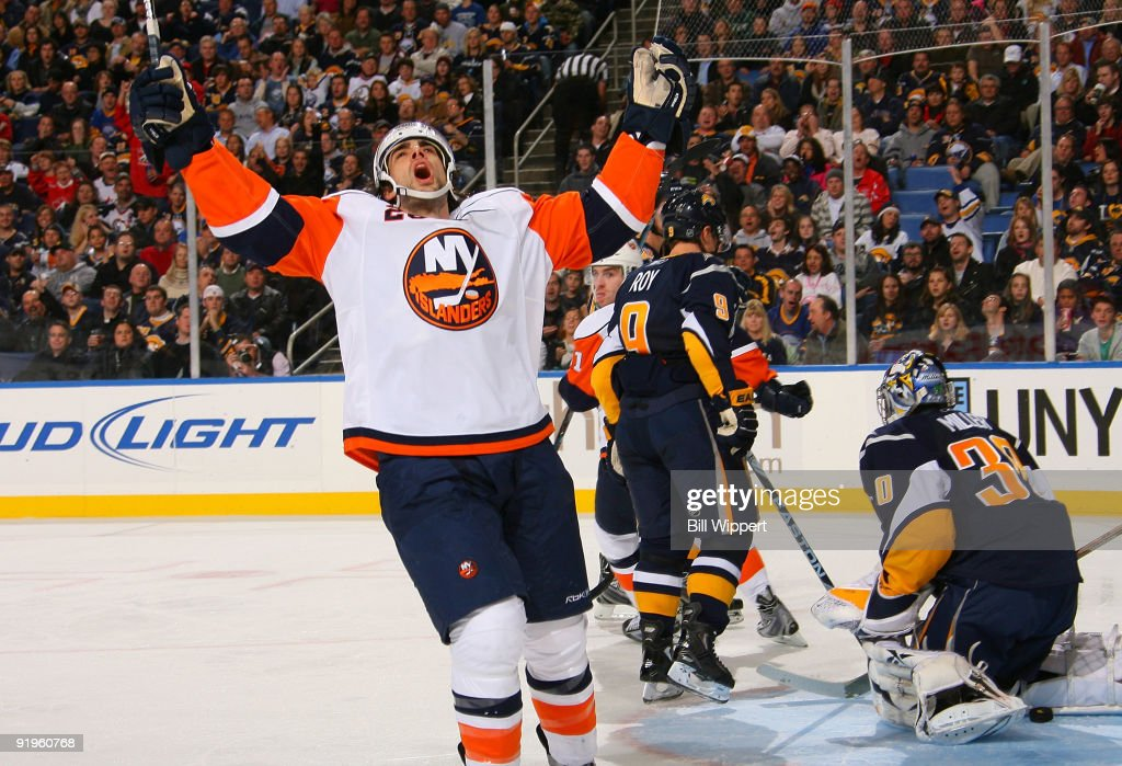 Matt Moulson of the New York Islanders celebrates a second period goal against Ryan Miller of the Buffalo Sabres on October 16 2009 at HSBC Arena in...