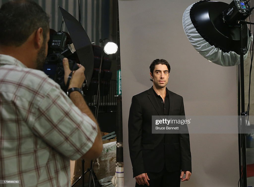 Matt Moulson of the New York Islanders is photographed in a portrait session during the National Hockey League Player Media Tour at the Prudential Center on September 6, 2013 in Newark, New Jersey.