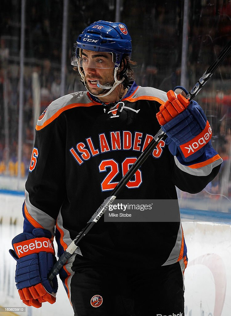 Matt Moulson #26 of the New York Islanders skates against the Washington Capitals at Nassau Veterans Memorial Coliseum on March 9, 2013 in Uniondale, New York. The Islanders defeated the Capitals 5-2.