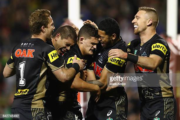 Matt Moylan Chris Grevsmuhl Nathan Cleary Waqa Blake and Bryce Cartwright of the Panthers celebrate Nathan Cleary scoring a try during the round 16...