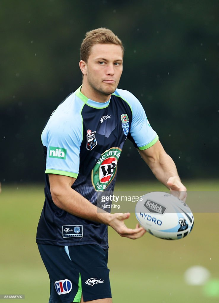 Matt Moylan of the Blues passes during a New South Wales State of Origin training session on May 26, 2016 in Coffs Harbour, Australia.