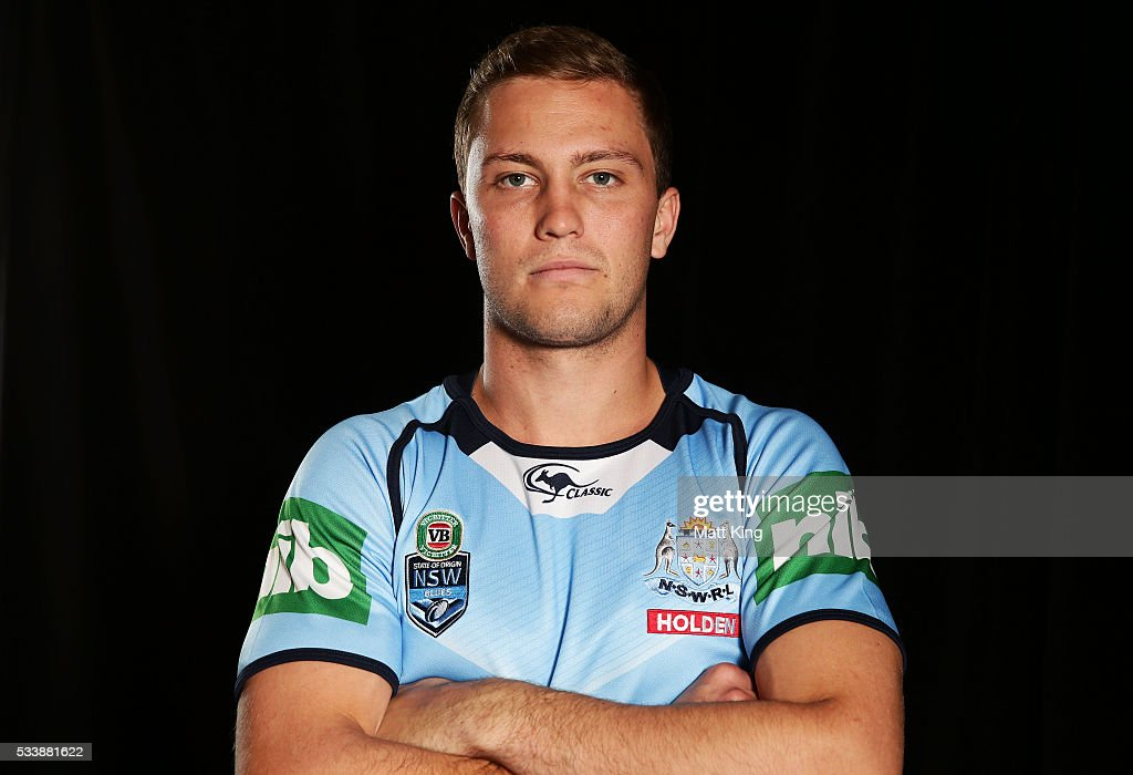 <a gi-track='captionPersonalityLinkClicked' href=/galleries/search?phrase=Matt+Moylan&family=editorial&specificpeople=10892874 ng-click='$event.stopPropagation()'>Matt Moylan</a> of the Blues poses during a New South Wales Blues NRL State of Origin portrait session at The Novatel on May 24, 2016 in Coffs Harbour, Australia.