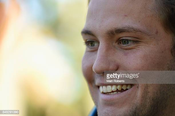 Matt Moylan of the Blues speaks to media after the New South Wales State of Origin training session on July 7 2016 in Coffs Harbour Australia