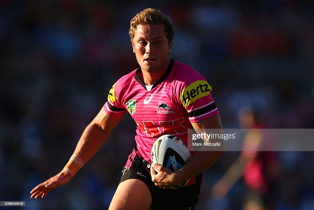<a gi-track='captionPersonalityLinkClicked' href=/galleries/search?phrase=Matt+Moylan&family=editorial&specificpeople=10892874 ng-click='$event.stopPropagation()'>Matt Moylan</a> of the Panthers in action during the NRL Trial match between the Canterbury Bulldogs and the Penrith Panthers at Pepper Stadium on February 13, 2016 in Sydney, Australia.