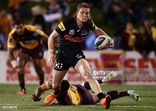 Matt Moylan of the Panthers makes a break during the round 18 NRL match between the Penrith Panthers and the Brisbane Broncos at Sportingbet Stadium...