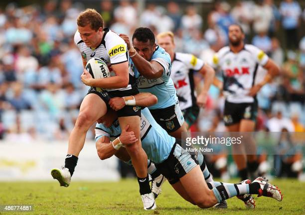 Matt Moylan of the Panthers makes a line break during the round 8 NRL match between the CronullaSutherland Sharks and the Penrith Panthers at...