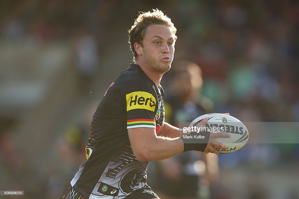 <a gi-track='captionPersonalityLinkClicked' href=/galleries/search?phrase=Matt+Moylan&family=editorial&specificpeople=10892874 ng-click='$event.stopPropagation()'>Matt Moylan</a> of the Panthers runs the ball during the round nine NRL match between the Penrith Panthers and the Canberra Raiders at Carrington Park on April 30, 2016 in Bathurst, Australia.