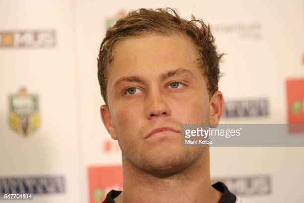 Matt Moylan of the Panthers watches on during the post match press conference after the round one NRL match between the St George Illawarra Dragons...