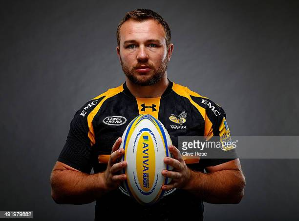 Matt Mullan of Wasps poses for a portrait during the Aviva Premiership Season Launch at Twickenham Stoop on October 8 2015 in London England